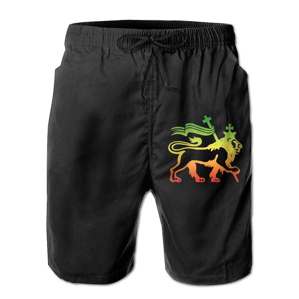 YUEJIQG Rasta Lion of Judah Mens Board Shorts Beach Swim Trunks Casual Trunks