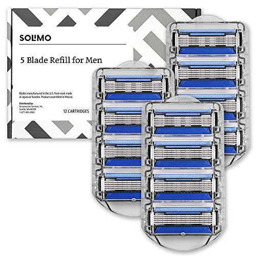 Amazon Brand – Solimo 5-Blade Razor Refills for Men with Precision Beard Trimmer, 12 Refills