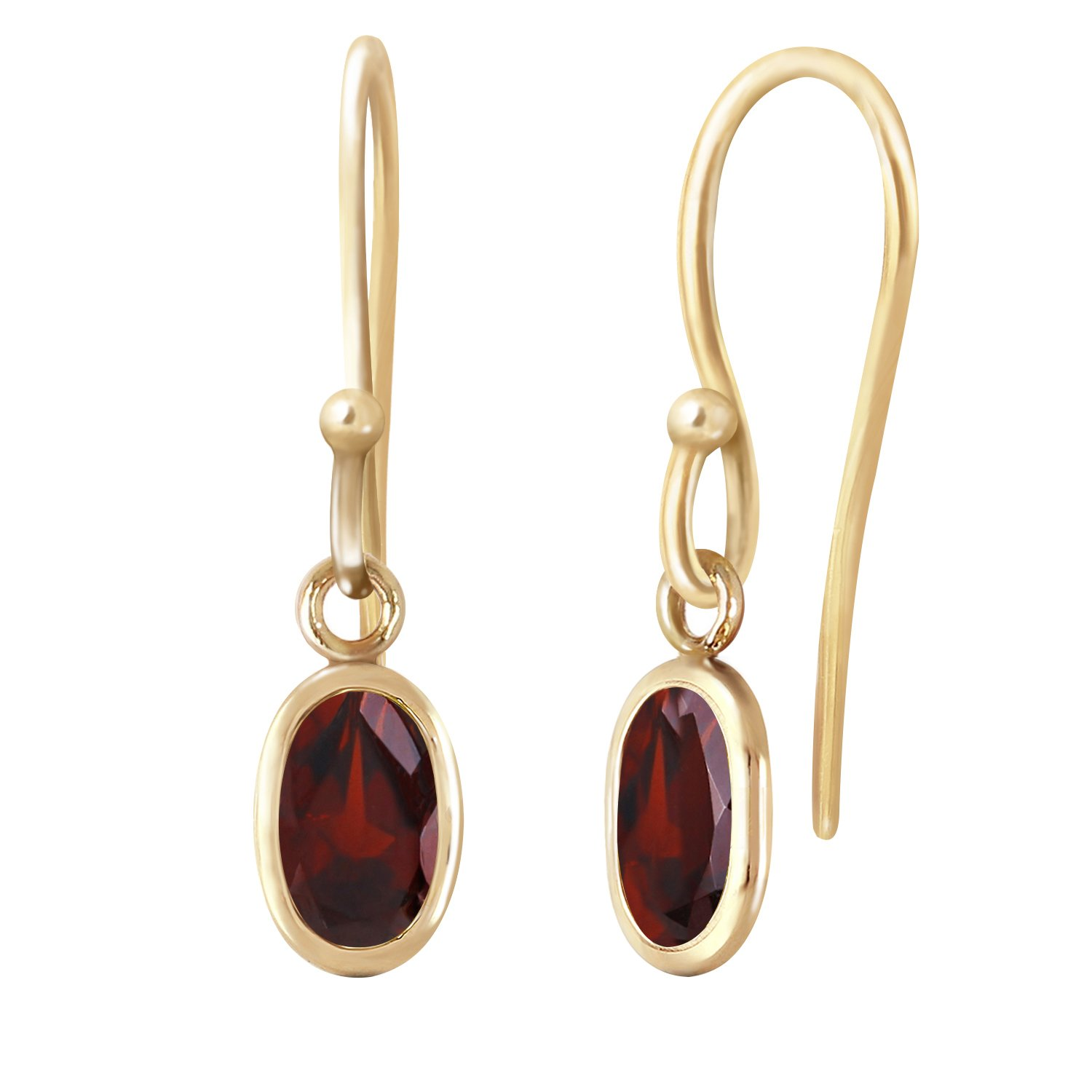 1 Carat 14k Solid Gold Garnet Fish Hook Dangle Earrings