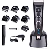 DEERCON Cordless Hair Clipper for Men Speed Adjustable Hair Trimmer with Ceramic Blade Rechargeable USB Hair Cutting Machine with LED Display used for Family Hairdressing