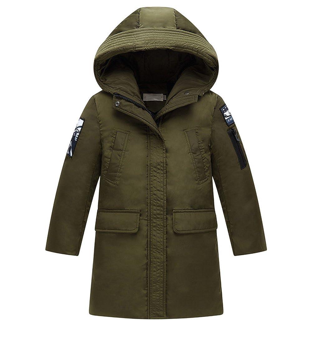Tortor 1Bacha Kid Boy Fashion Patch Hooded Winter Down Coat Long Jacket