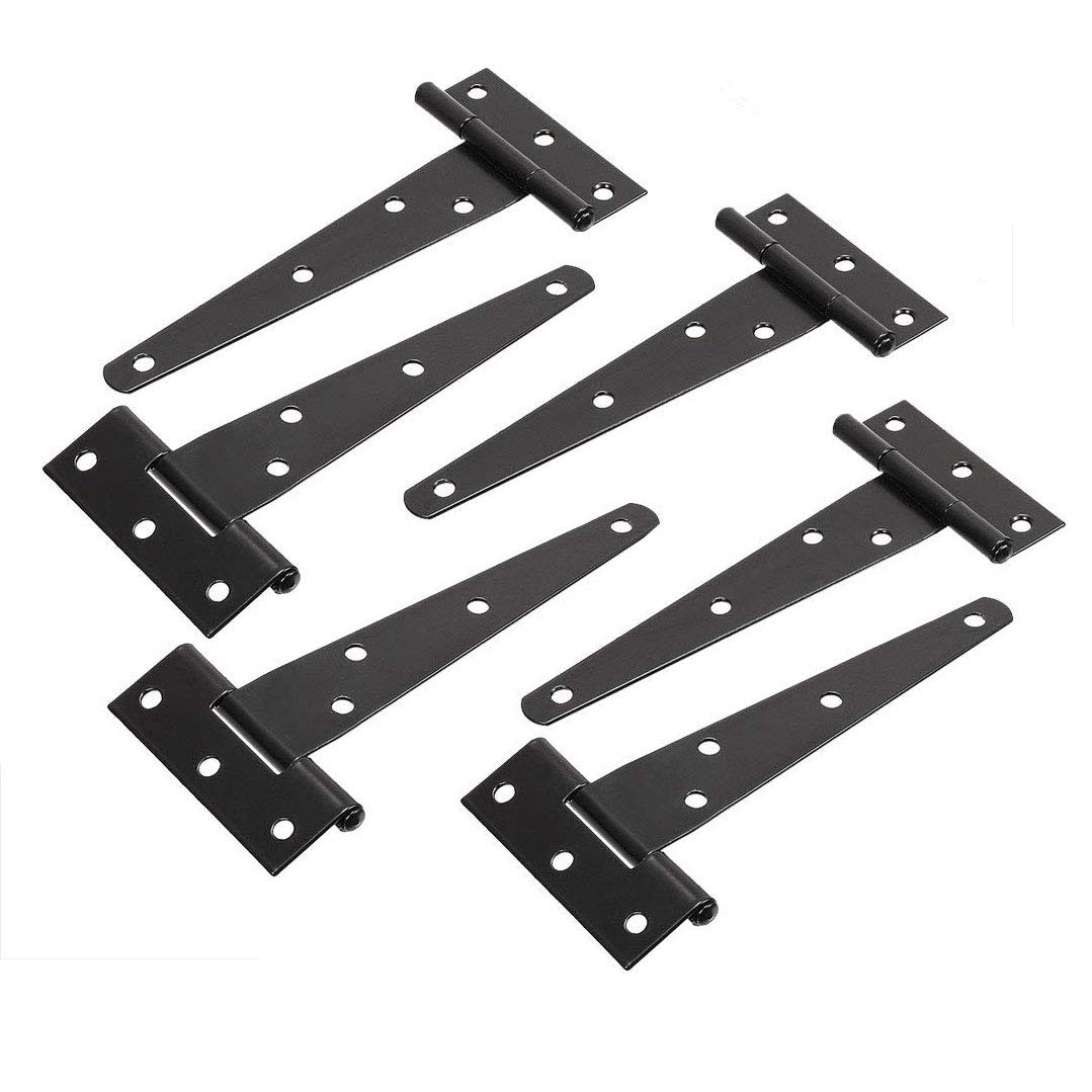 TamBee 5inch T-Strap Shed Hinge Gate Strap Light Duty Hinge Door Barn Gates Hinges Black Wrought Hardware Iron Rustproof (6)