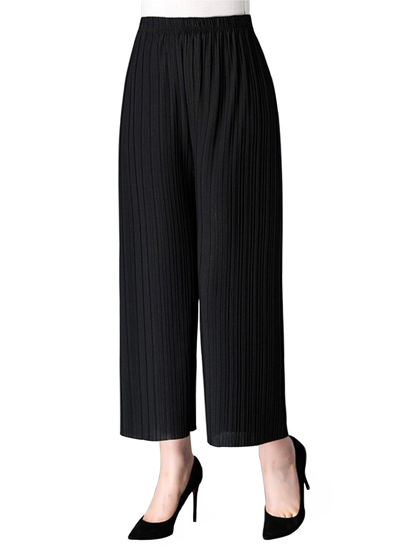 AUSZOSLT Women's One Size Elastic High Waist Wide Leg Flowy Pleated Crop Pants Black by AUSZOSLT (Image #1)
