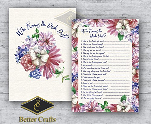 Who knows the Bride Best? Wedding and Bridal Shower Game, 50 Beautiful double sided Card game. (Version 24) ()