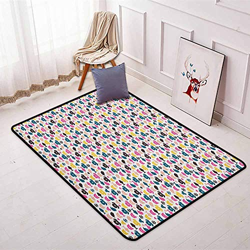 Animal Multifunction Cheerful Domestic Pets Colorful Pattern Cat Dog Fish Bird and Mouse Faces Hearts Non-Sliding Indoor Carpet W47.2 x L71 Inch Multicolor