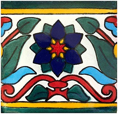 Rustico Tile and Stone TR6LAFLOR La Flor Talavera Tile Box of 45, 6 x 6