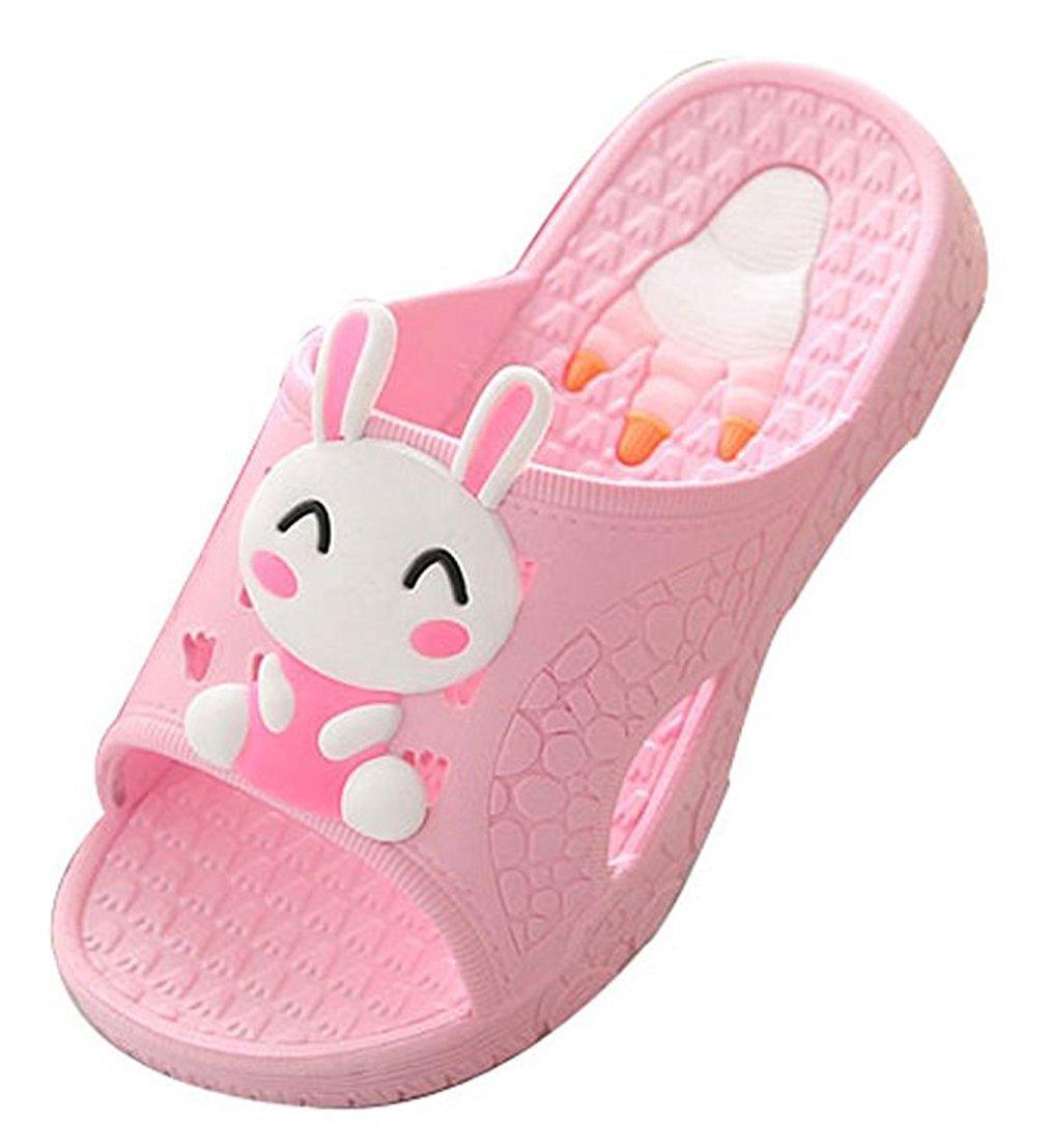 Blubi Toddler Little Kid Bunny Lightweight Shower and Poolside Sandal Beach Sandal (11.5 M, Pink)
