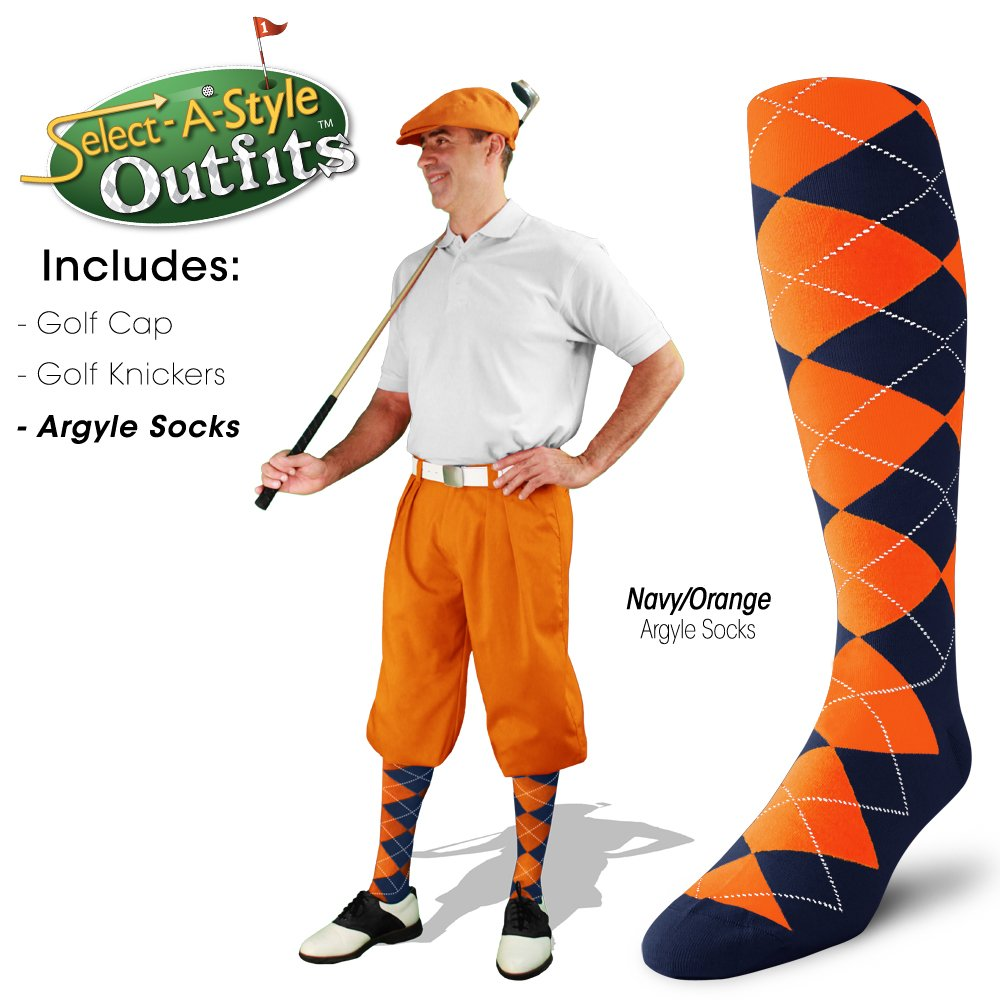 Golf Knickers Mens Select-A-Style Outfit - Orange - Waist 32 - Sock - NY/OR by Golf Knickers (Image #5)