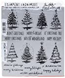 Stampers Anonymous Tim Holtz Cling Rubber Stamp Set, 7'' by 8.5'', Scribbly Christmas