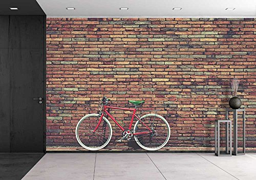Road Mural (wall26 - Retro Bicycle on Roadside with Vintage Brick Wall Background - Removable Wall Mural | Self-adhesive Large Wallpaper - 100x144)