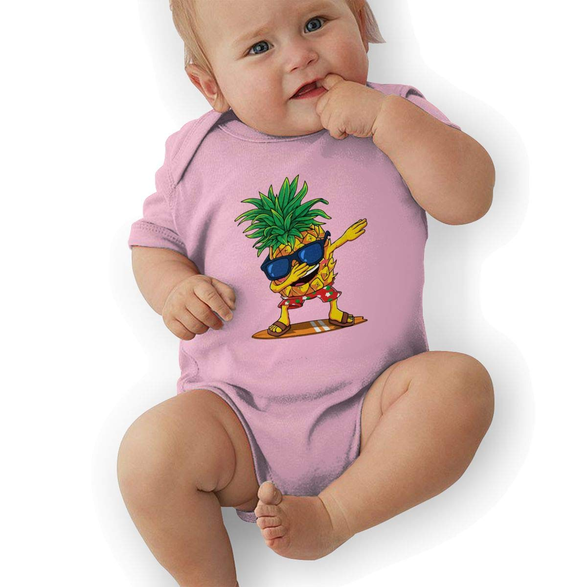 Dabbing Pineapple Sunglasses Aloha Beaches Hawaii Baby Boys Girls Jumpsuit Overall Romper Bodysuit Summer Clothes Pink