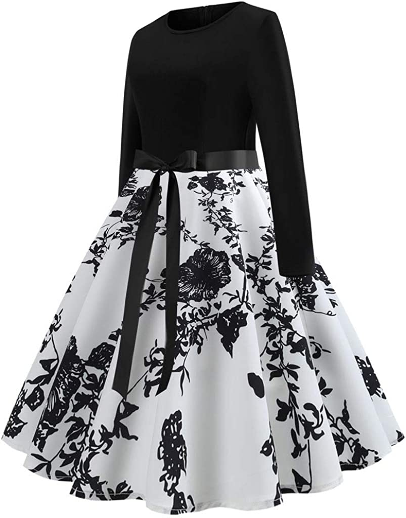 iLOOSKR Retro Fashion Womens One-Piece Dress Bow Tie Belt Printed Long-Sleeved Skirt Dress
