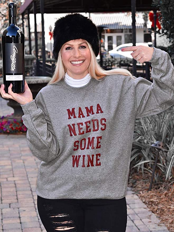 Birthday Gift Fall Fashion Slouchy Sweater Wine Sweatshirt Mom Life I Need Wine Heather Grey Top Funny Shirt A Nap Shirt for Women