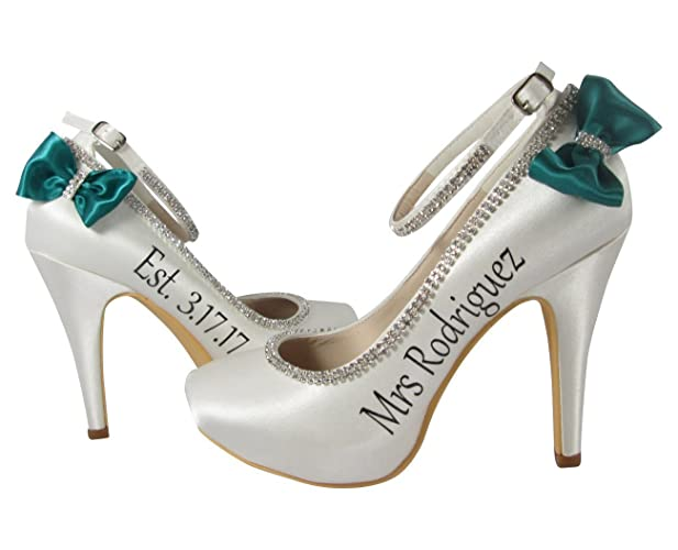 7967a48d6dc Amazon.com  Ivory and Jade Personalized Bridal Ceremony High Heels ...