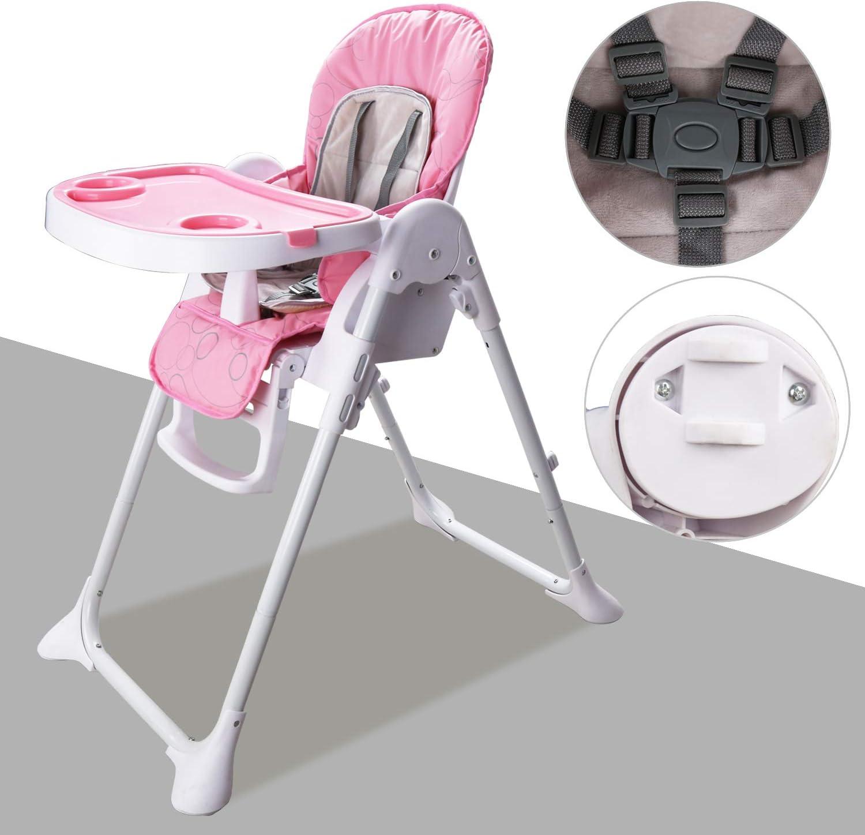 Hengda Chaise haute b/éb/é Rose Compact enfant Chaise Ceinture 5-points Nettoyage Facile Taille d/éploy/ée:60 72 102cm