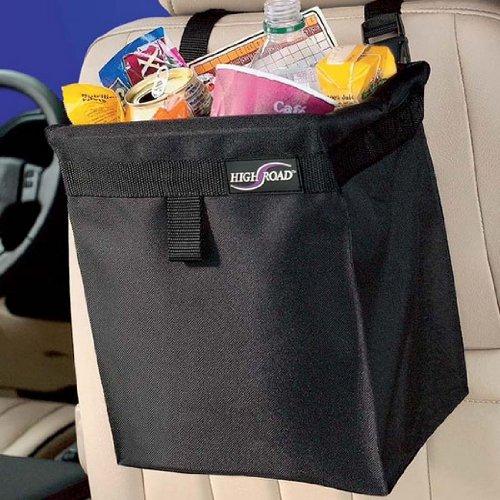 High Road TrashStash Leakproof Hanging Car Trash Bag with Spring Frame Closure - Black