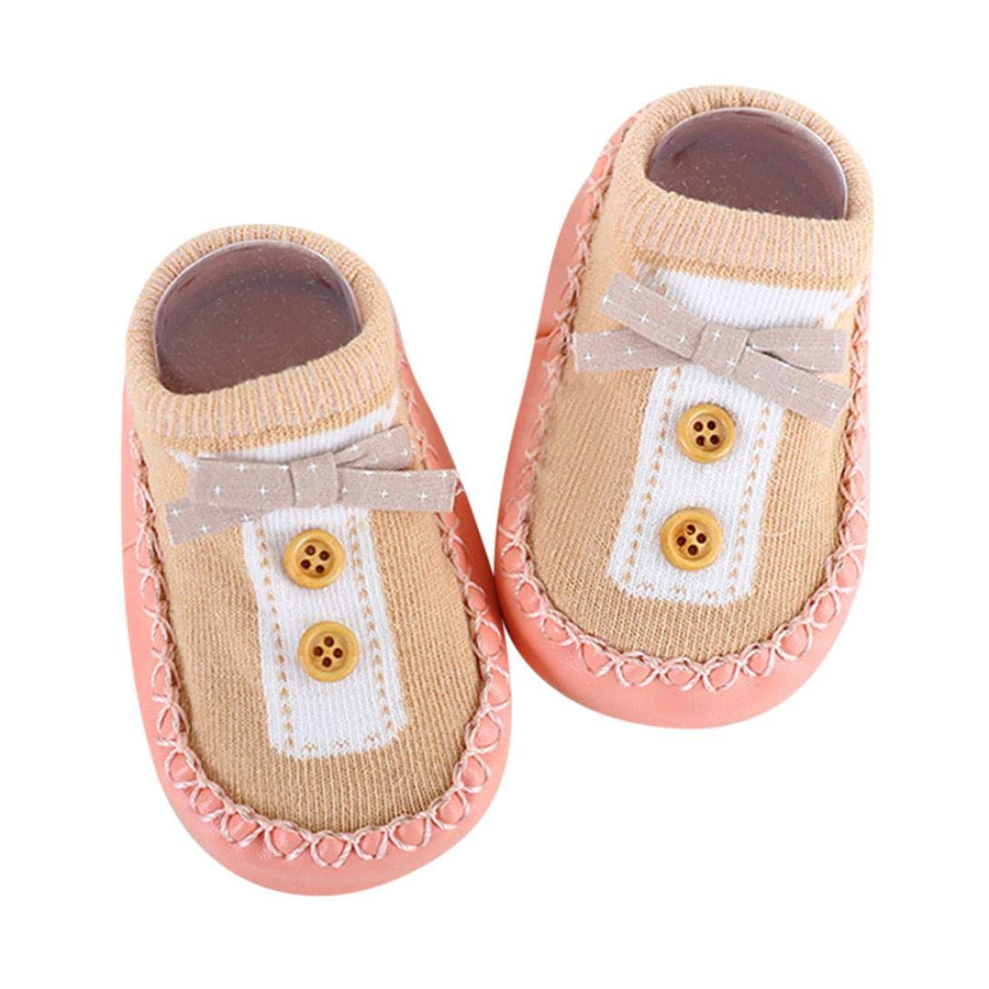 WARMSHOP Unisex Toddler Boys Girls Soft Sole Anti-Slip Floor Socks Bowknot Buttons Ankle Baby Cotton Slipper Prewalker Shoes (Pink, Small) China