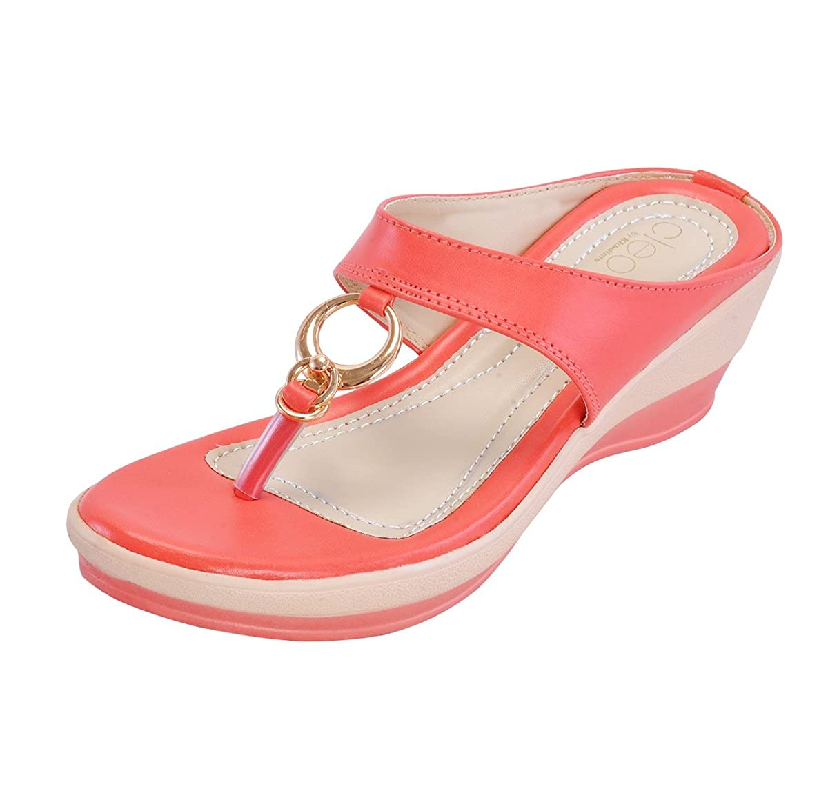 Cleo Khadim's Women's Faux Leather Pink Wedges - 5