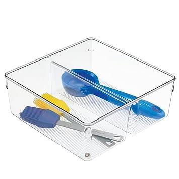 plus récent 69dd5 be61c InterDesign Linus boite stockage pour tiroir, grand bac plastique pour  couverts et autres accessoires, transparent