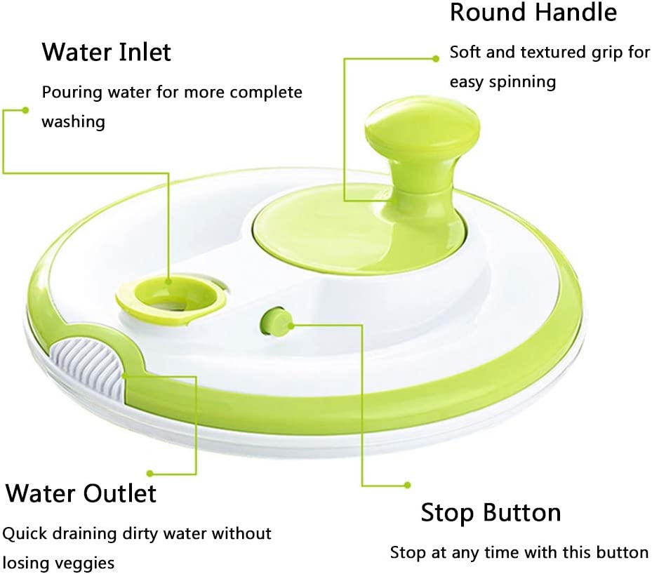 Easy Spin for Tastier Salads Large Salad Spinner BPA Free Green Manual Lettuce Dryer and Vegetable Washer with Quick Dry Design 5qt