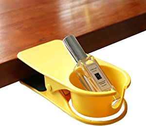 SunnyZoo Drinking Cup Holder Clip Home Office Table Desk Side Clip Water Drink Beverage Soda Coffee Mug Holder Cup Clip Design (Yellow)