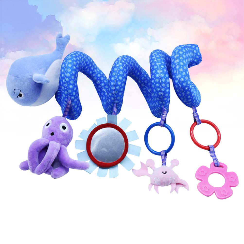 NUOBESTY Baby Infant Rattles Plush Toy Animals Doll Toy Hanging Bell Stroller Toys Wind Chimes Spiral Wrap Around Crib Bed Haning Doll for Baby Car