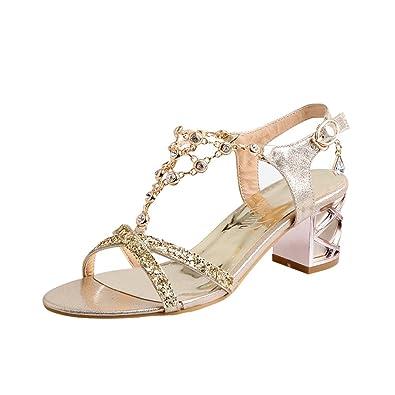 YE Damen T Spangen Glitzer Sandalen Blockabsatz Riemchen Offene High Heels mit Strass und 6cm Bequem Schuhe