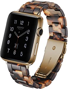 CSVK Resin Band for App le Watch Band 38mm 40mm Men Women Compatible with iWatch Series 4 3 2 1 Band, Replacement Lightweight Waterproof Strap with Stainless Steel Buckle