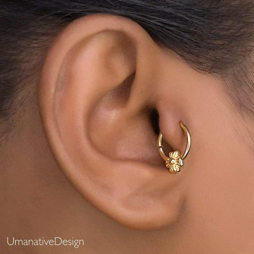 4394a9dea Image Unavailable. Image not available for. Color: Tiny Tragus Earring, Gold  Plated Indian Small Hoop ...