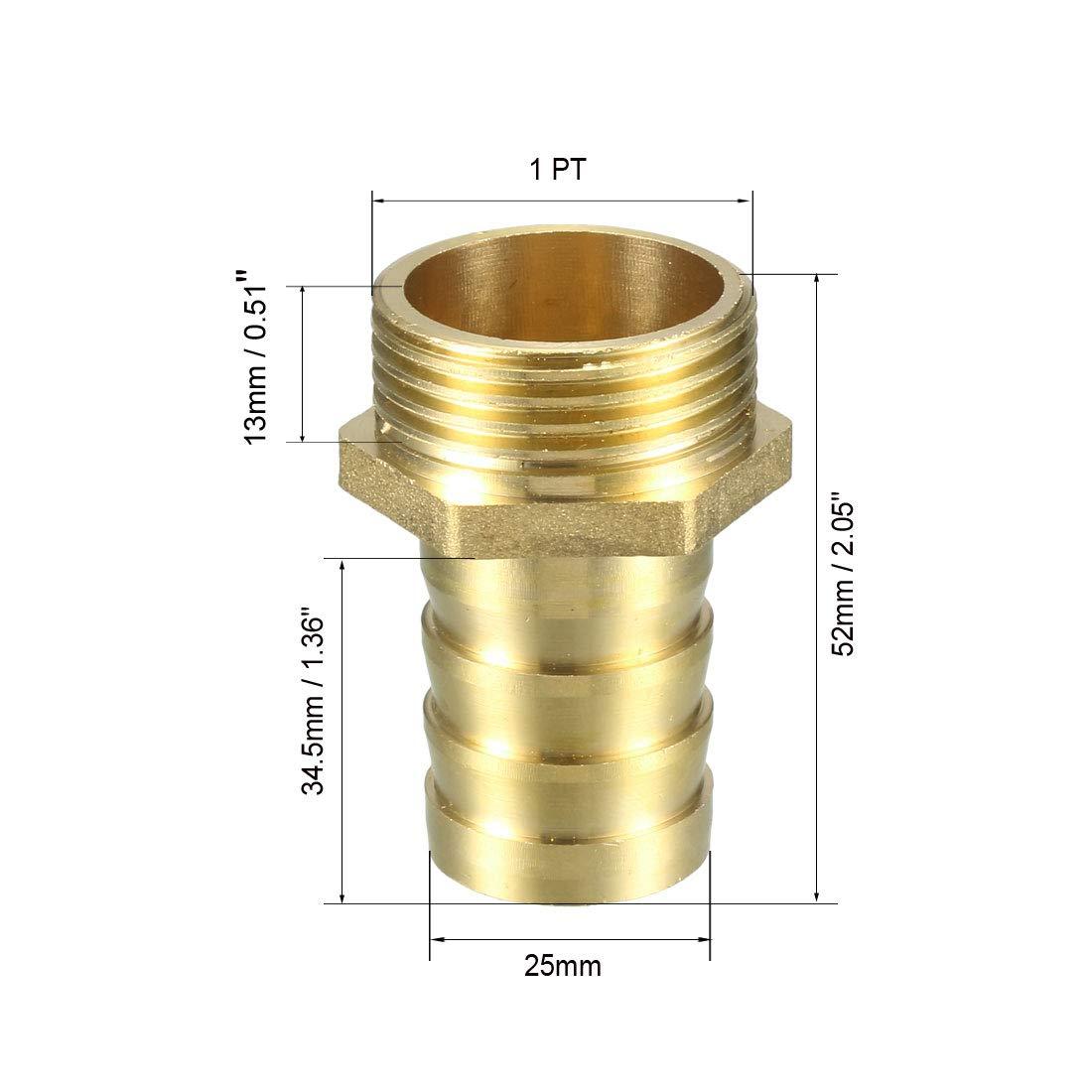 sourcing map Messing T/ülle Schlauchanschluss Adapter 10mm Widerhaken x 3//4 PT Stecker Rohr