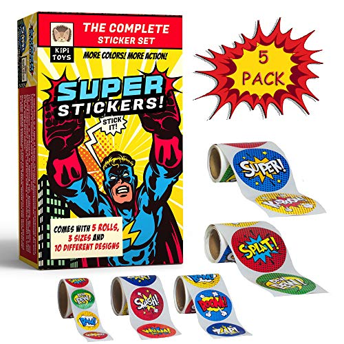 Superhero 3 Sizes Sticker Rolls Fun 5 Pack 300 pcs Gift Box Bundle Comic Book Stickers Roll for Party Kids Children Adults Office Home or Party