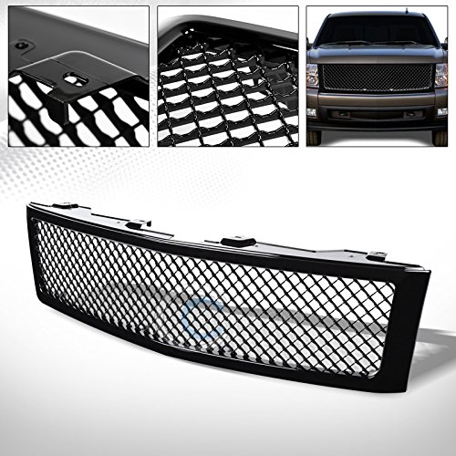 (R&L Racing Glossy Black Finished Mesh Front Hood Bumper Grill Grille 2007-2013 for Chevy Silverado 1500)