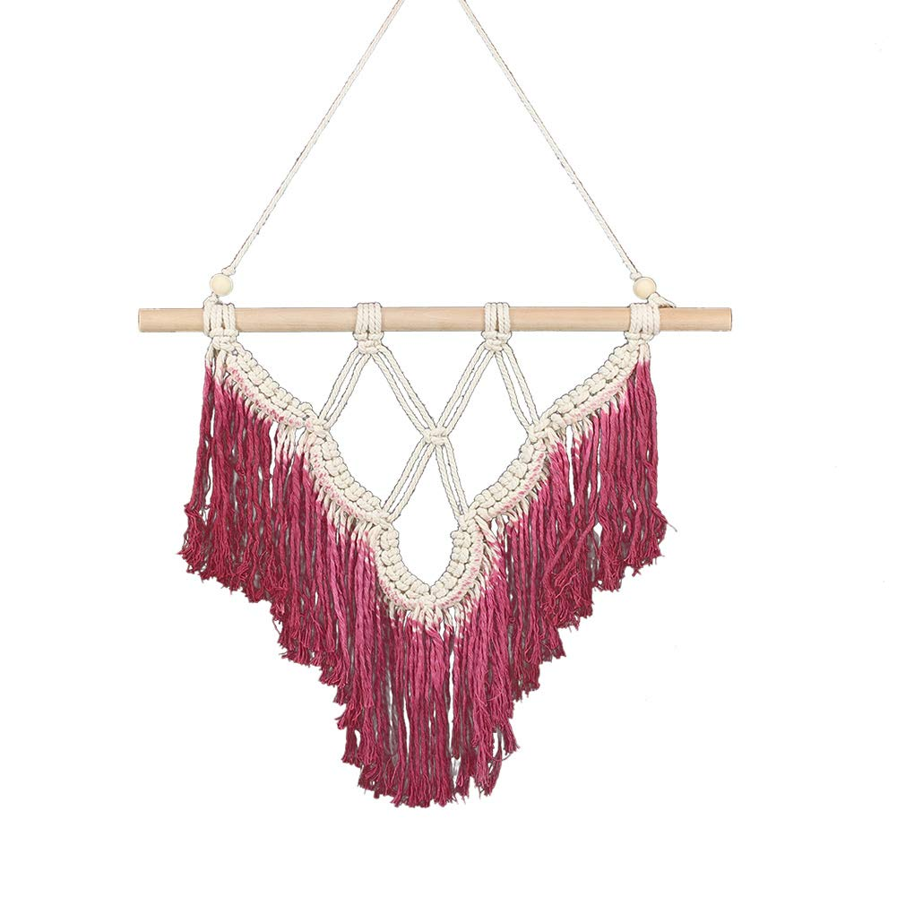DDSS Home Decoration Wall Decoration - Bohemian Macrame Wall,Art Handmade Cotton Wall Hanging Elegant Blue Red Tapestry with Tassel Fabrics /-/