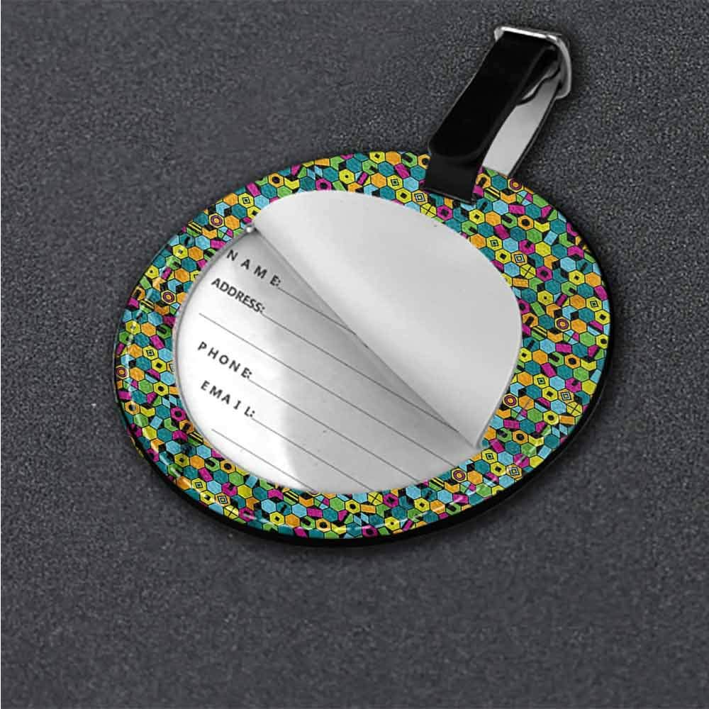 Women Luggage Tag Colorful,Heart Patches and Dots Label Tag Address Holder