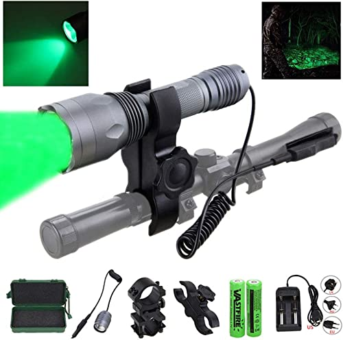 VASTFIRE 350 Yard CREE LED Green Flashlight Kit Hog Coyote Varmints Predator Long Range Night Hunting Light Flashlight Dual Pressure Switch 2 X 18650 Batteries Charger Barrel Scope Mounts