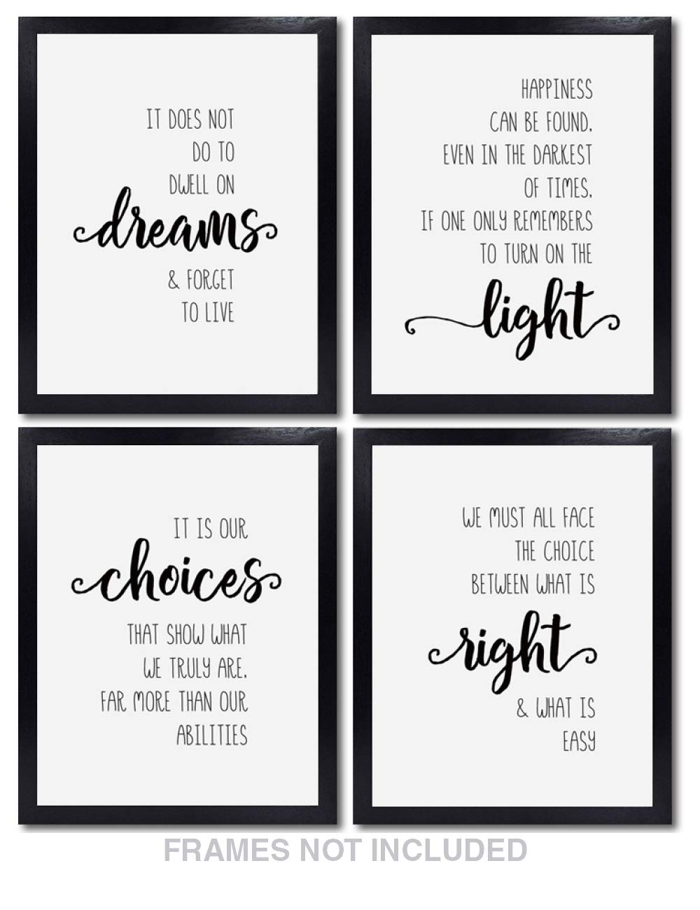 Confetti Fox Harry Potter Wall Decor - Set of 4 Unframed 8x10 White Pearl Art Prints - Dumbledore Quotes and Sayings Themed Art Gift for Home, Bathroom, Bedroom, Kids, Baby