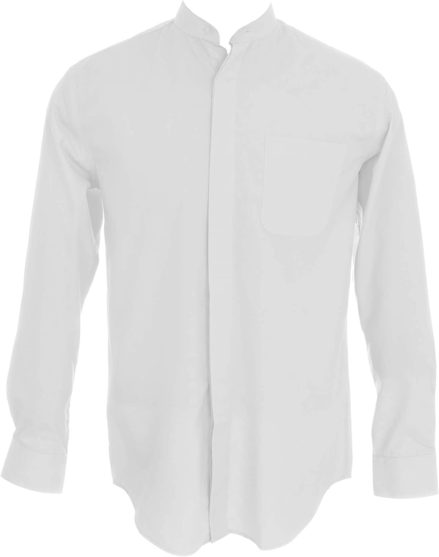Sunrise Outlet Men's Collarless Banded Collar Dress Shirt