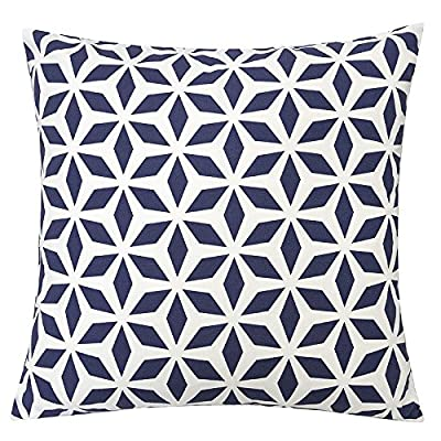 Homey Cozy Outdoor Accent Pillow Cover,Navy Crystal Grid Large Water/UV/Stain-Resistance Decorative Replacement Cushion Cover 20x20, Cover Only - Summer Time | A charming pillow is just the thing to brighten up a room or refresh your style-inside or outdoors. Crafted from 100% polyester, this reversible pillow showcases a bright and modern geometric motif in a selection of summery watercolor hues. Weather Resistant | Add some color to your patio set with these water resistant outdoor pillows. Made out of 100% Solarium Polyester fabric, it is mold and mildew resistant as well as fade and stain resistant Skin Friendly | Even with the protective coating, the outdoor pillow covers still feel nice and soft to make for incredibly cozy lounging out on the patio or indoors. - patio, outdoor-throw-pillows, outdoor-decor - 613n94 VOjL. SS400  -