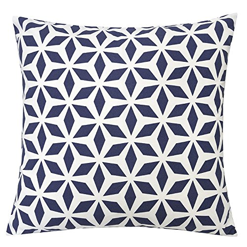 Homey Cozy Outdoor Accent Pillow Cover,Navy Crystal Grid Large Water/UV/Stain-Resistance Decorative Replacement Cushion Cover 20x20, Cover Only