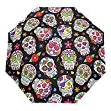 Wamika Day of The Dead Sugar Skull Auto Umbrella Open Close Windproof Travel Flower Umbrella Lightweight Compact Parasol Umbrellas Sun & Rain