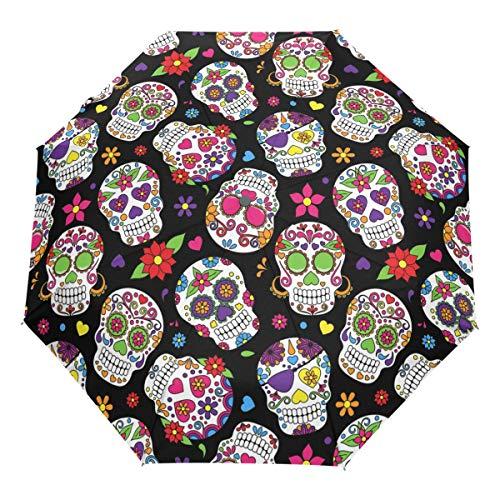 Wamika Day of The Dead Sugar Skull Auto Umbrella Open Close Windproof Travel Flower Umbrella Lightweight Compact Parasol Umbrellas Sun & Rain by Wamika