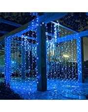 Led Curtain Lights 9.8 x 9.8 Feet 300 LEDs, 8 Modes with Waterproof Connector