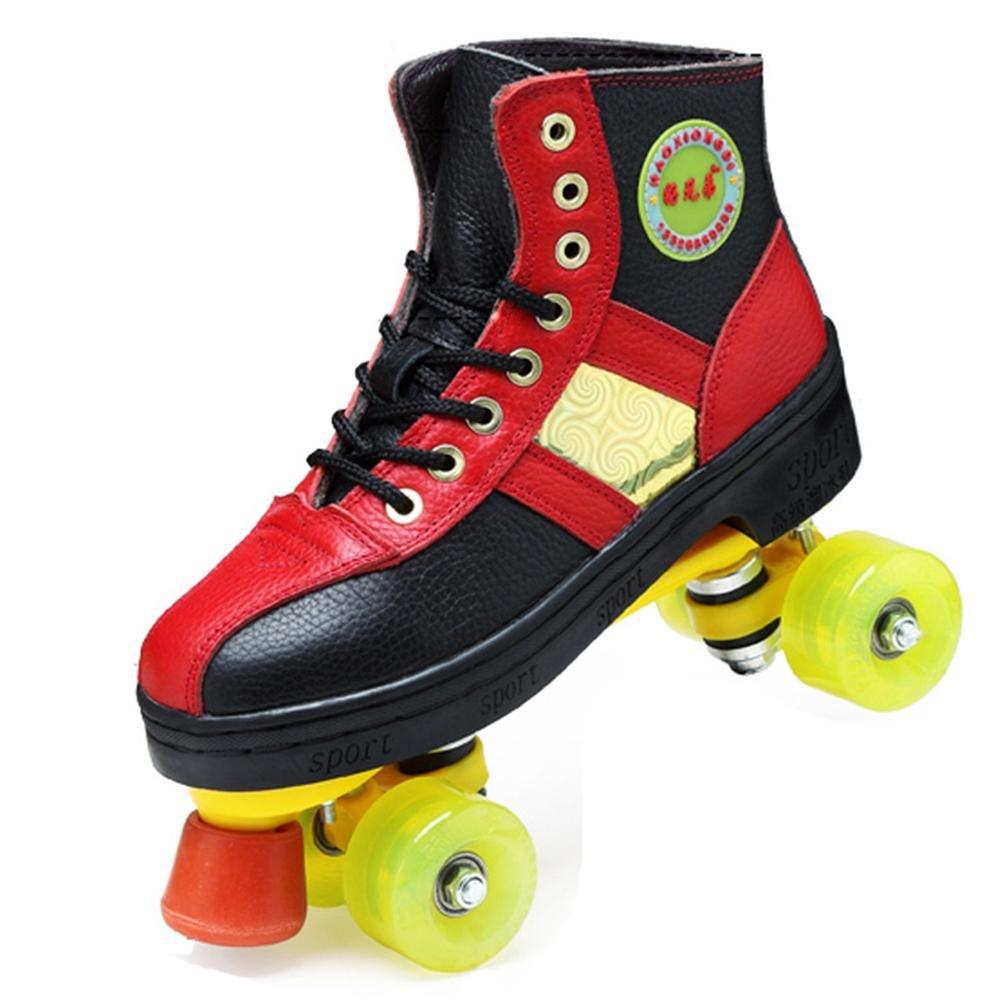 LBY Roller Skates Quad Indoor/Outdoor High Top Leder Rollschuhe für Jugendliche und Erwachsene Erwachsene