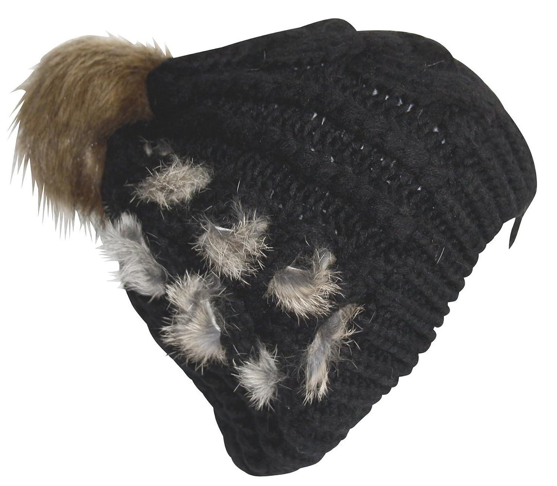 Attleya, Damen, Herren, Mütze, Unisex, Wintermütze, Schwarz, Beige, Kunstfell, 100% Acryl, Ski-Mütze mit Bommel
