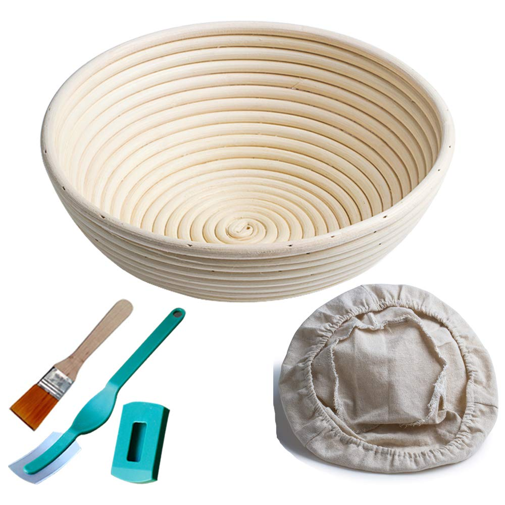M JINGMEI Banneton Proofing Basket 10'' Round Banneton Brotform for Bread and Dough [Free Brush] Proofing Rising Rattan Bowl(1000g Dough) + Free Liner + Bread Lame by M JINGMEI