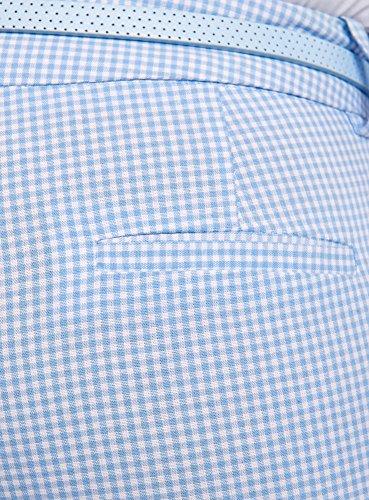 Pantalon Carreaux À Oodji 1270c Bleu Ceinture Femme Avec Ultra Tq6WWUROw