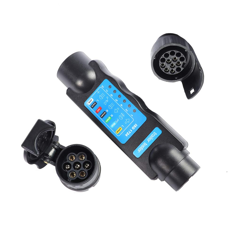 AOHEWEI 13 Pin Trailer Lights Plug and Socket Tester 12V Wiring Circuit Electrics Diagnostic Connector for Towing Car Caravan (13 pin trailer tester)