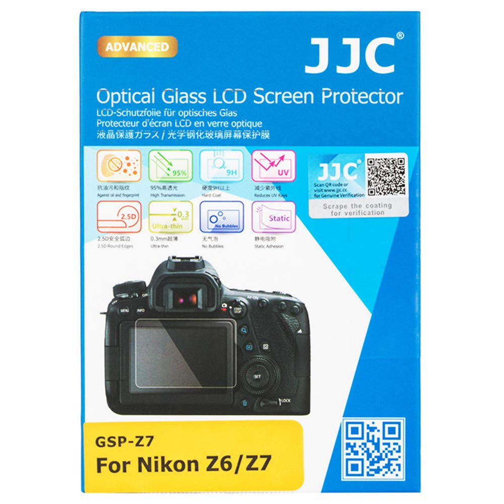 JJC Dedicated Tempered Glass Screen Protector Kit for Nikon Z6 Z7 Mirrorless Camera, 0.3mm Ultra-Thin / 9H Hardness / 2.5D Round Edges, with 2pcs PET Film Protector for Shoulder Screen/Sub-Screen Jinjiacheng Photography Equipment Co. Ltd.