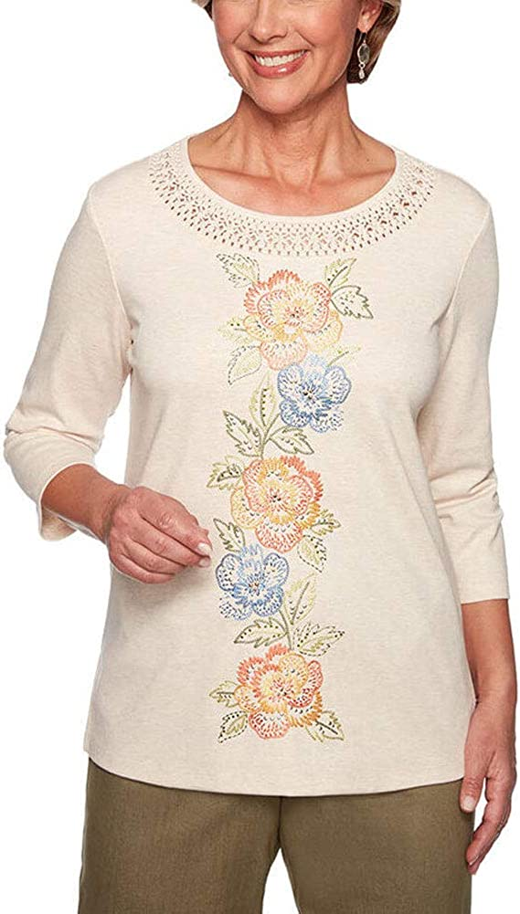 Alfred Dunner Women's Lake Tahoe Floral Center Top