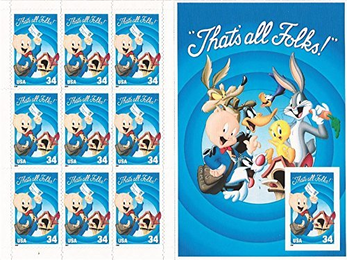 (Porky Pig Sheet of Ten Stamps with Imperforate Stamp Error Scott #)